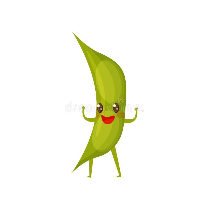 Cosse humanisée de soja vert avec le visage heureux, se tenant avec des mains  personnage de dessin animé drôle Icône plate de ve illustration libre de droits