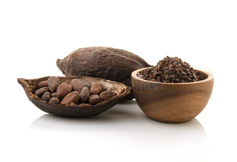 Cosses de cacao et graines de cacao et poudre de cacao avec des feuilles d'isolement sur le fond blanc image stock