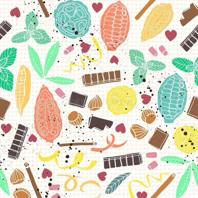 Cosses stylisées colorées de cacao avec des barres et des épices de chocolat Fond sans couture de modèle de vecteur illustration stock