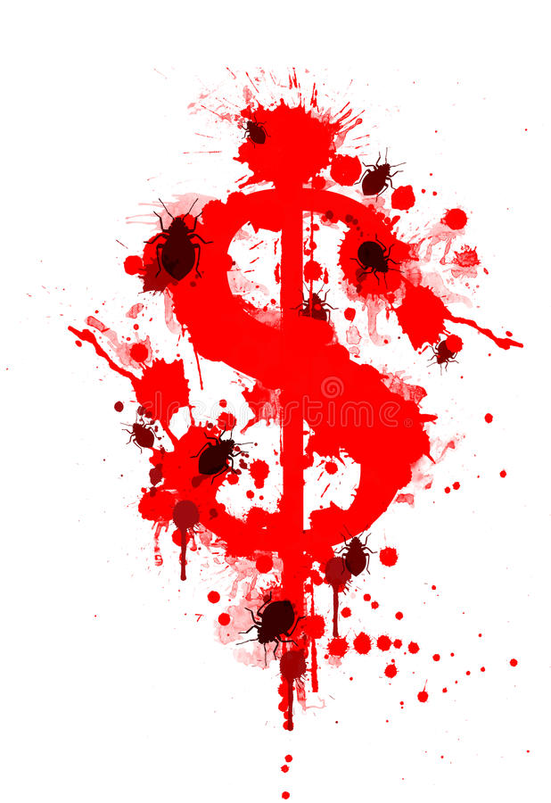 Cost of Bed Bugs. Red blood splatter dollar signs with bed bugs, concept the cost of bedbugs stock illustration