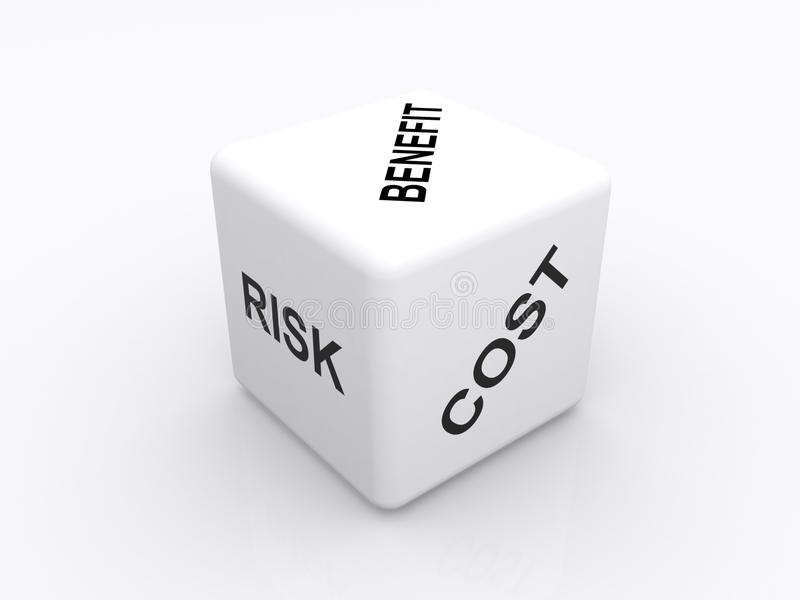 Cost benefit analysis. Illustration of a white cube with, risk, cost and benefit printed on adjacent sides in upper case black letters isolated on a white vector illustration