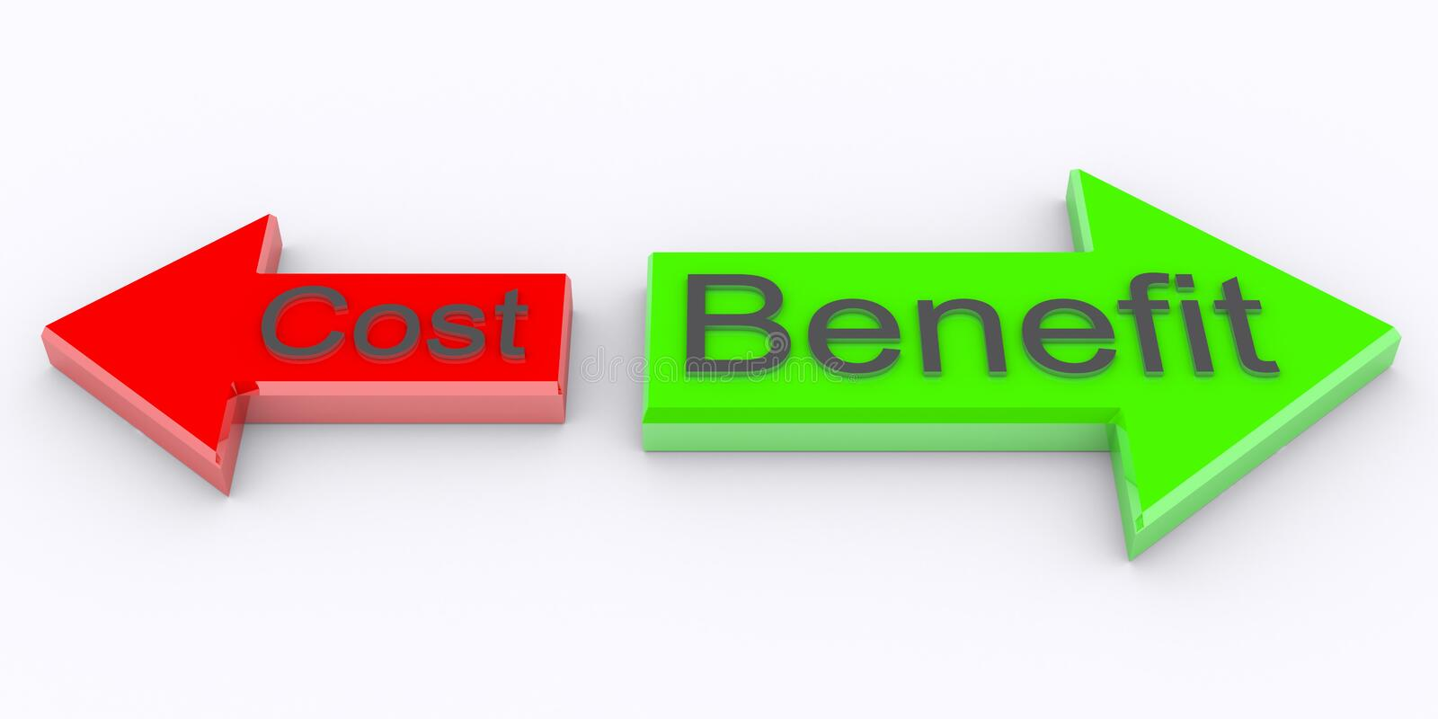 Cost Benefit. 3d rendered Cost Benefit on arrow stock illustration