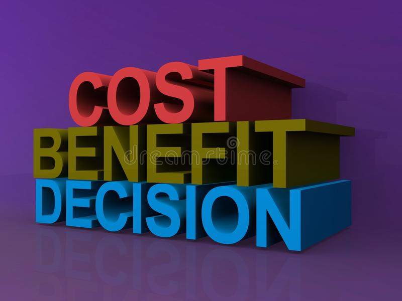 Cost, benefit, decision. 3D block letters spelling cost, benefit, decision against purple background royalty free illustration