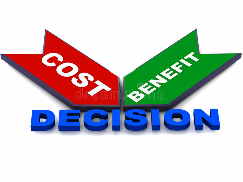 Cost benefits decision. Costs and benefits leading to decision in any business scenario, concept of business financial decision making stock illustration