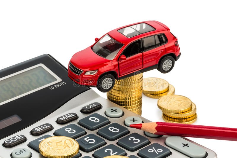 Cost of car. with calculator. Car and calculator. rising costs for car sales, leasing, workshop, refueling and insurance stock photo