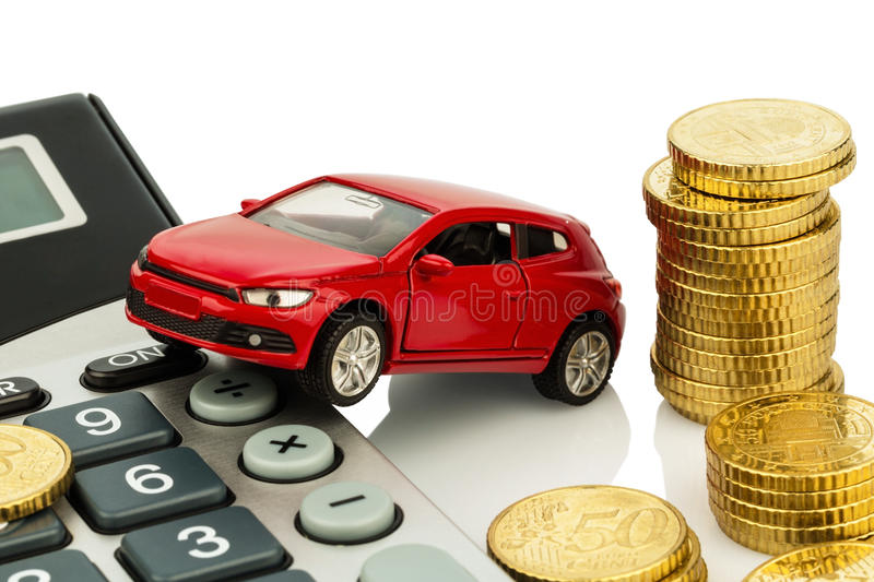 Cost of car. with calculator. Auto and calculator. rising costs for car purchase, lease, service, refueling and insurance royalty free stock image