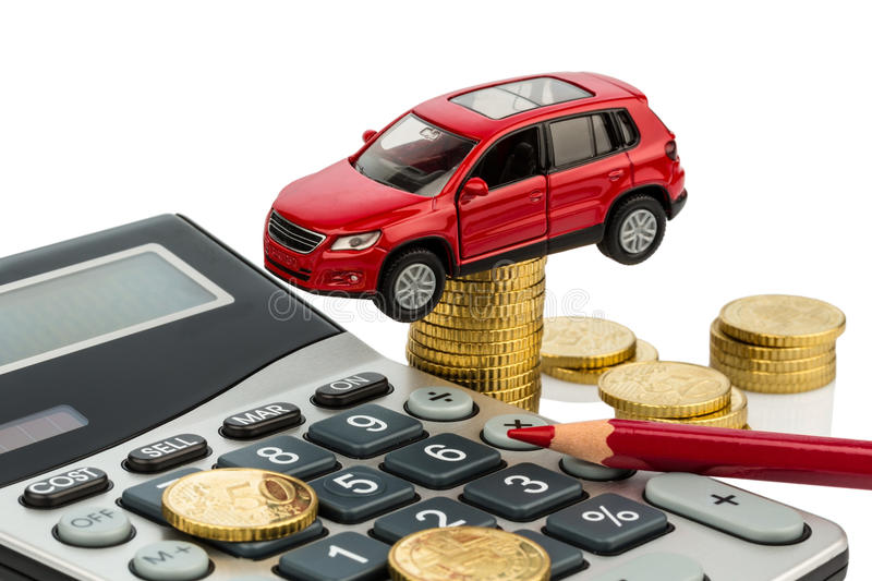Cost of the car. with calculator stock photography