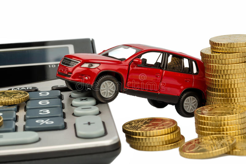 Cost of the car. with calculator stock image