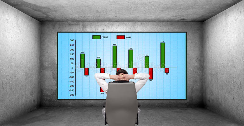Cost chart. Young businessman looking on plasma panel with cost chart royalty free illustration