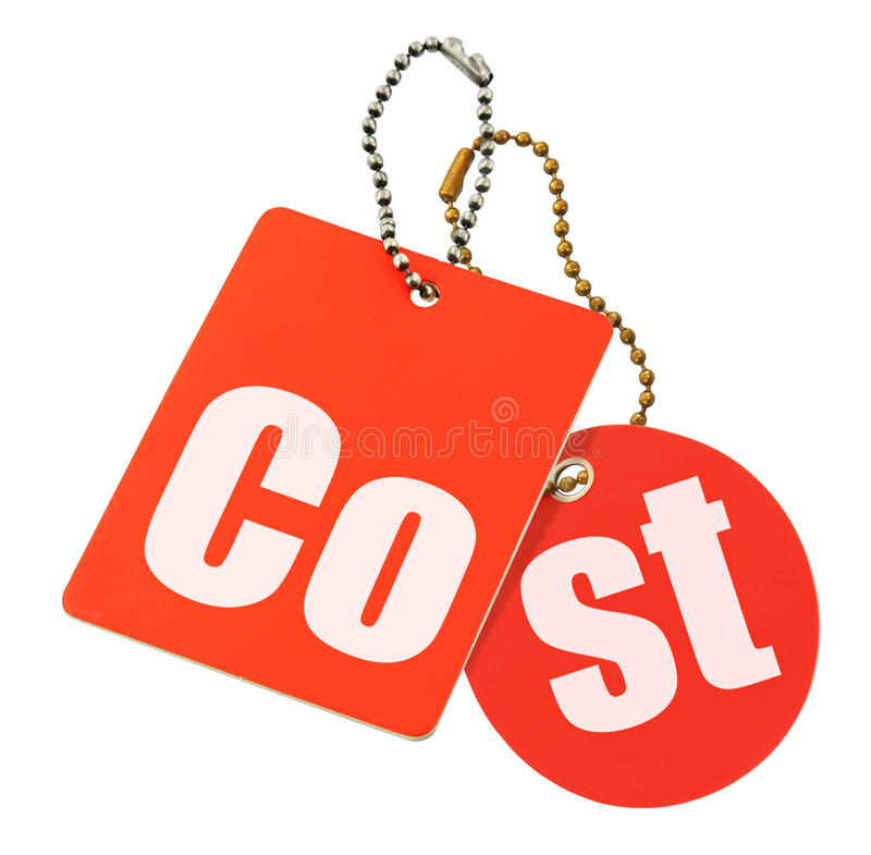 Cost concept - price tags isolated stock image