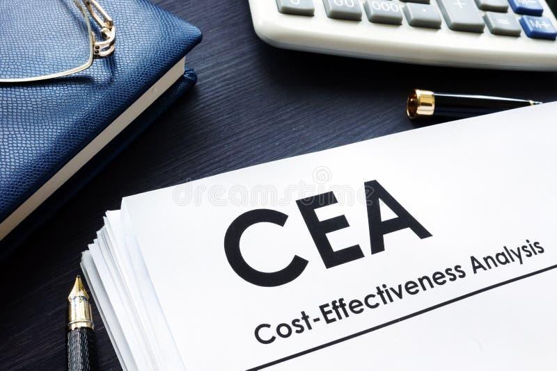 Cost Effectiveness Analysis CEA report. Cost Effectiveness Analysis CEA report on a desk stock photo
