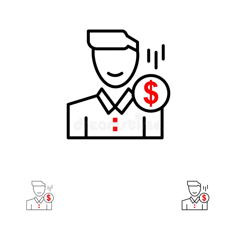 Cost, Fee. Male, Money, Payment, Salary, User Bold and thin black line icon set royalty free illustration