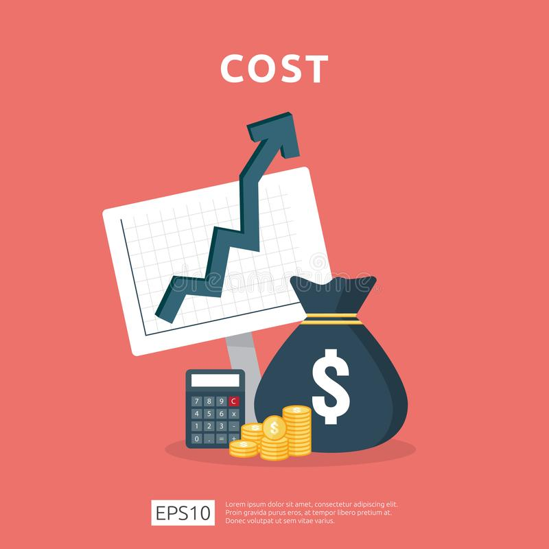 Cost fee spending increase with arrow rising up growth diagram. business cash reduction concept. investment growth progress with. Calculator element in flat royalty free illustration
