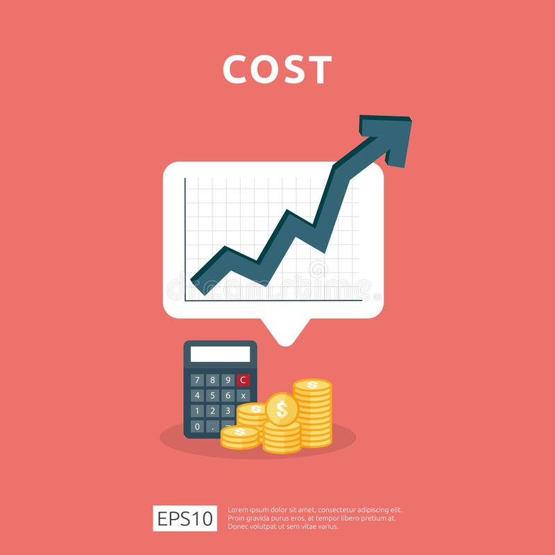 Cost fee spending increase with arrow rising up growth diagram. business cash reduction concept. investment growth progress with. Calculator element in flat vector illustration