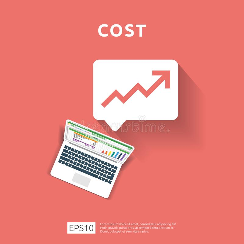 Cost fee spending increase with arrow rising up growth diagram. business cash reduction concept. investment growth progress with. Computer and calculator vector illustration