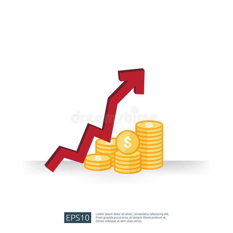 Cost fee spending increase with arrow rising up growth diagram. business cash reduction concept. investment growth progress in. Flat design vector illustration royalty free illustration