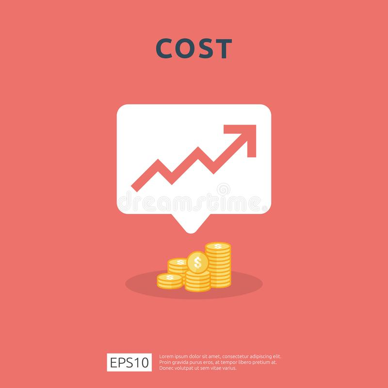 Cost fee spending increase with arrow rising up growth diagram. business cash reduction concept. investment growth progress in. Flat design vector illustration vector illustration