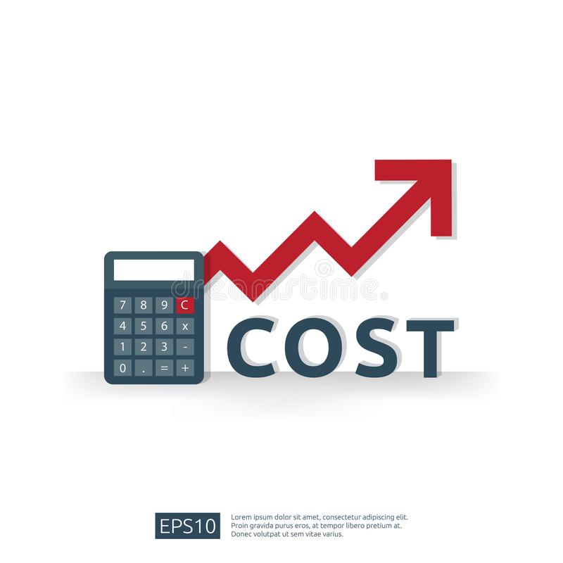 Cost fee spending increase with red arrow rising up growth diagram. business cash reduction concept. investment growth progress. With calculator element in flat vector illustration