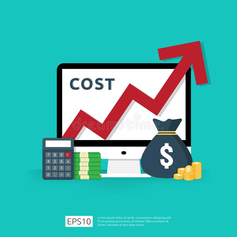 Cost fee spending increase with red arrow rising up growth diagram. business cash reduction concept. investment growth progress. With calculator, desktop PC stock illustration