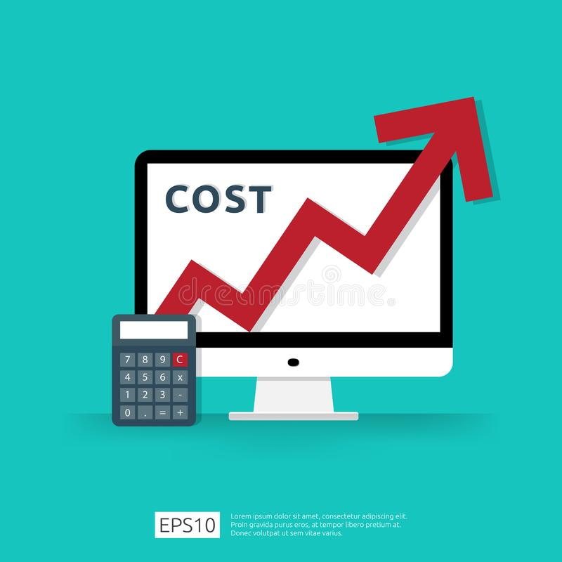 cost fee spending increase with red arrow rising up growth diagram. business cash reduction concept. investment growth progress stock illustration