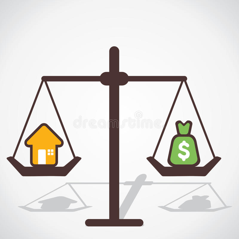 Cost of house. Is equal to you save money stock illustration
