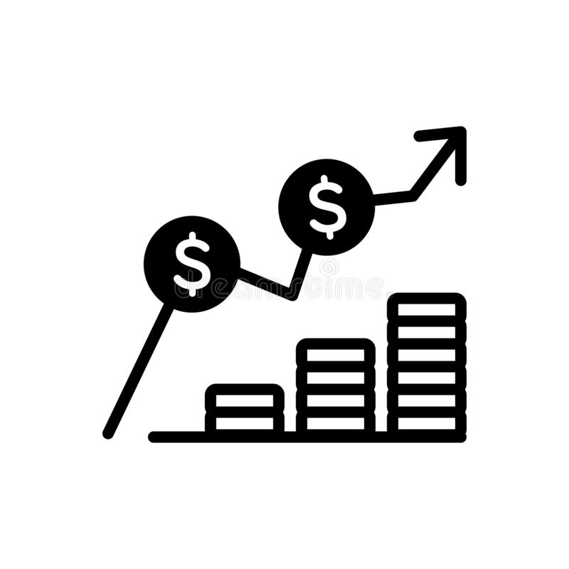 Black solid icon for Cost, expense and expenditure. Black solid icon for Cost, charge, earning, increase, miscellaneous,  expense and expenditure royalty free illustration