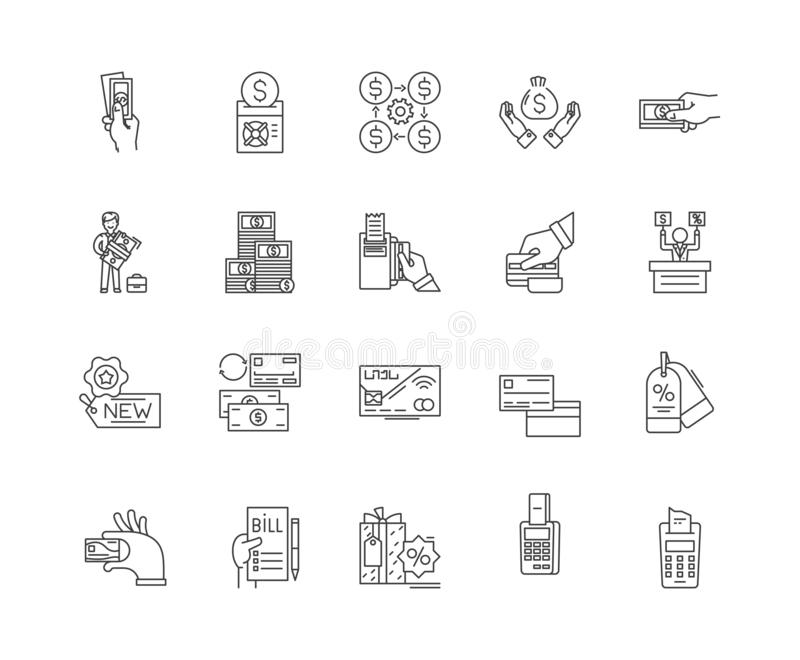 Cost line icons, signs, vector set, outline illustration concept royalty free illustration