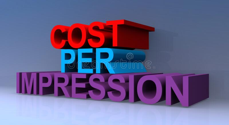 Cost per impression. On blue royalty free illustration