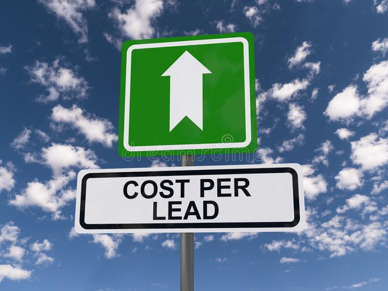 Cost Per Lead Sign. A cost per lead sign against a blue sky with clouds stock photos