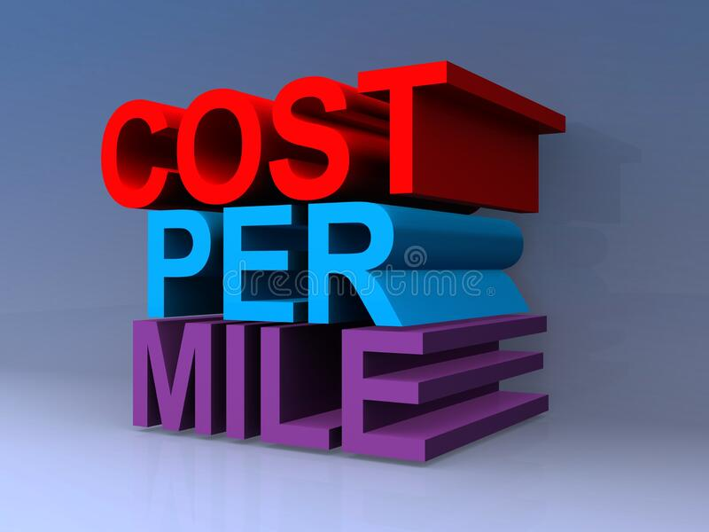 Cost per mile. On blue vector illustration