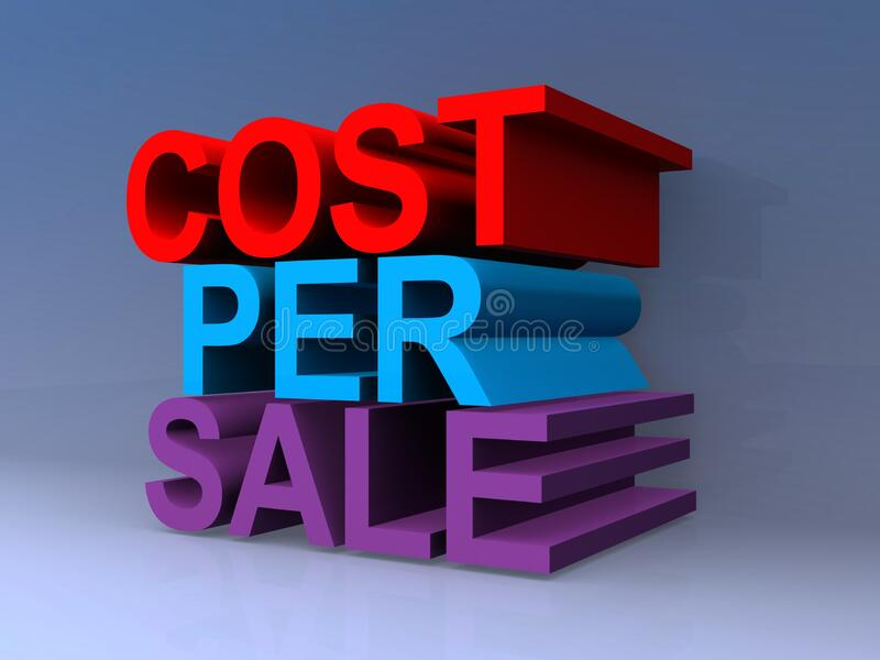 Cost per sale. On blue vector illustration