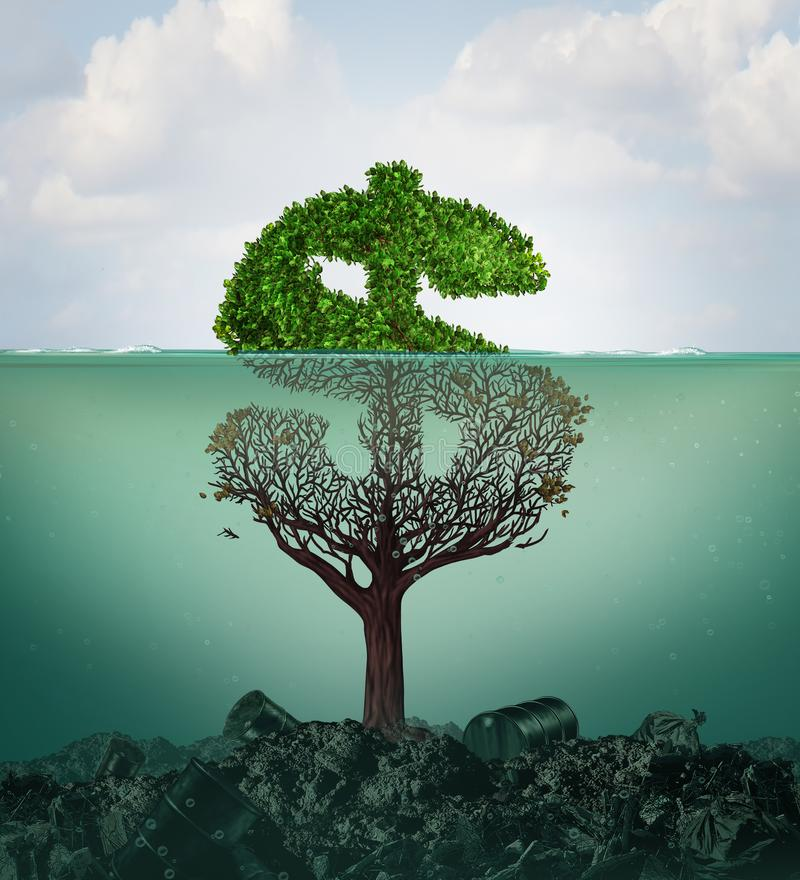 Cost Of Pollution. And financial costs of polluted water contamination with hazardous industrial waste as a tree shaped as a dollar sign underwater with the royalty free illustration