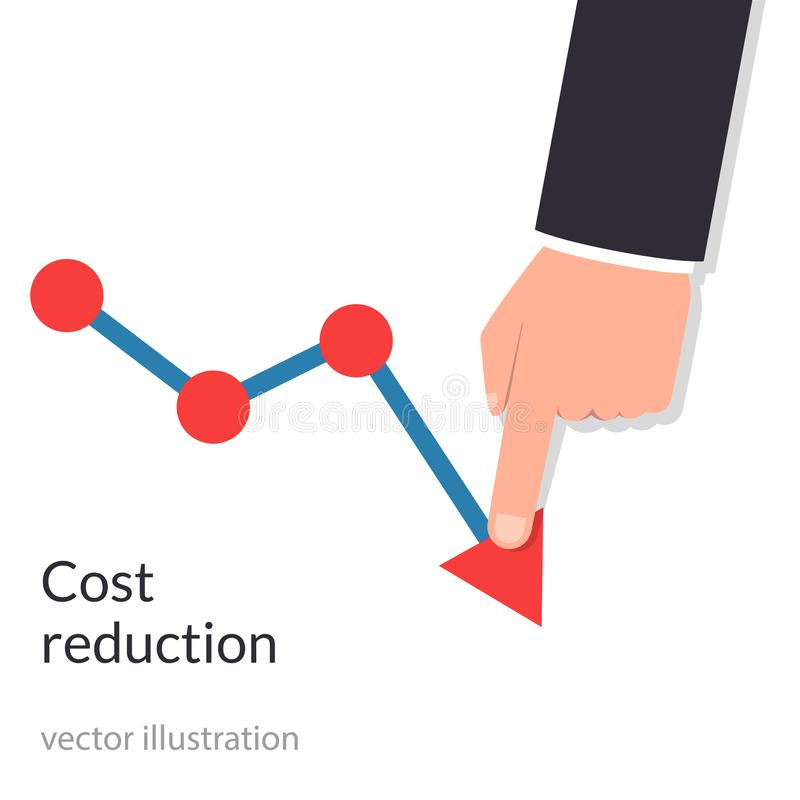 Cost reduction concept. Cost down. Businessman with his hand lowers the arrow of the graph. Decrease down profit vector illustration