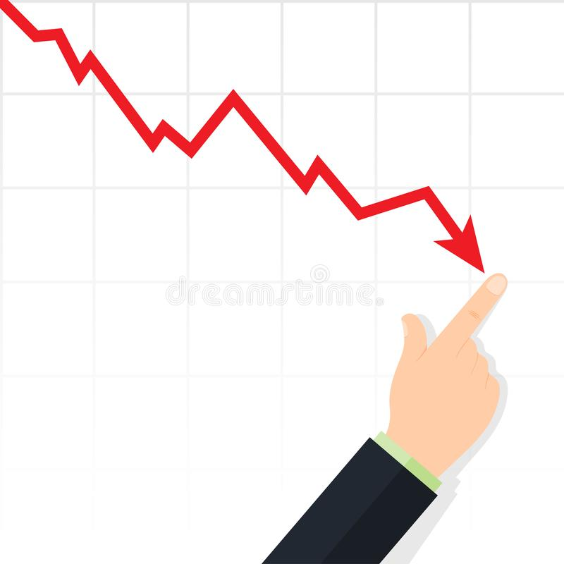 Cost reduction concept. Downward arrow stock illustration