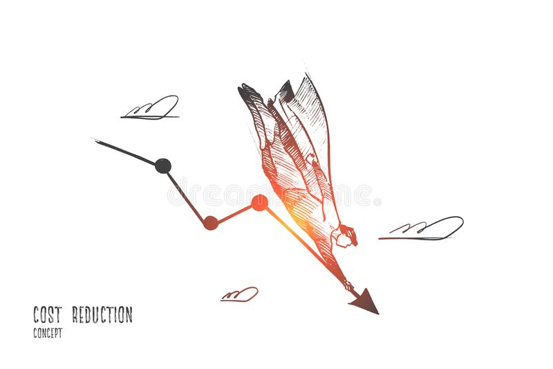 Cost reduction concept. Hand drawn isolated vector stock illustration