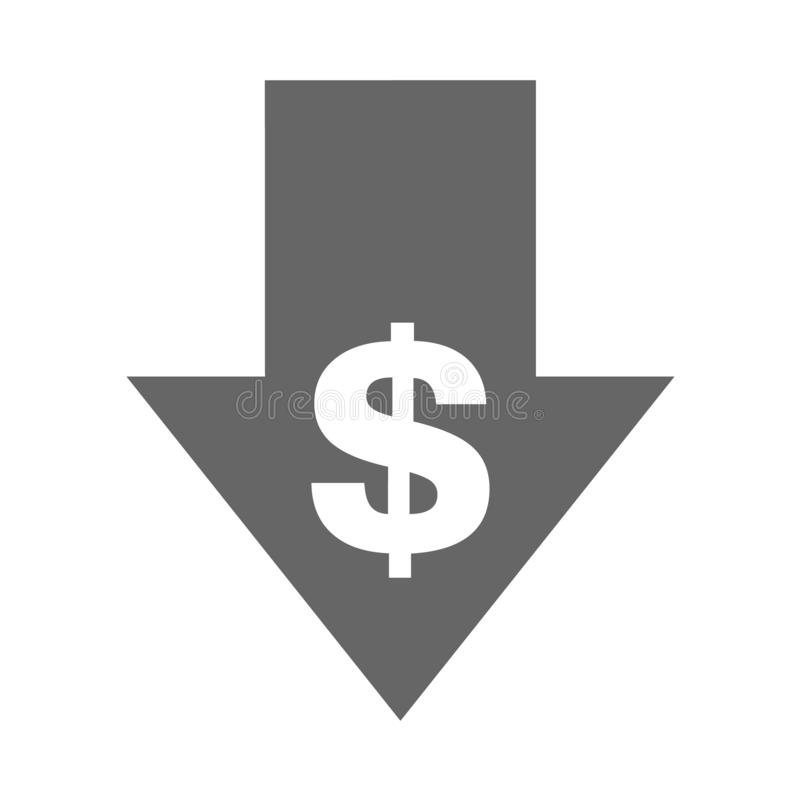 Cost reduction- decrease icon. Vector symbol image isolated on background.  royalty free illustration