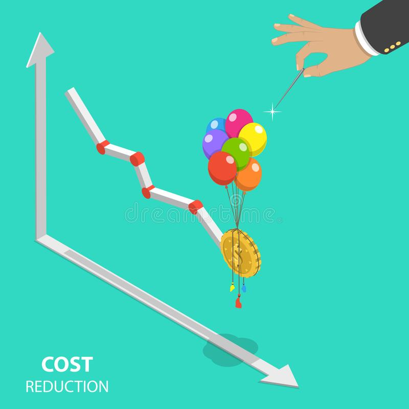 Cost reduction flat isometric vector concept. royalty free illustration