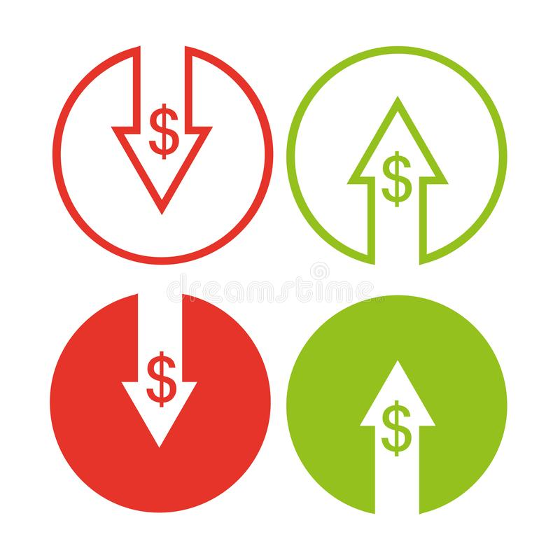 Cost reduction icon royalty free illustration