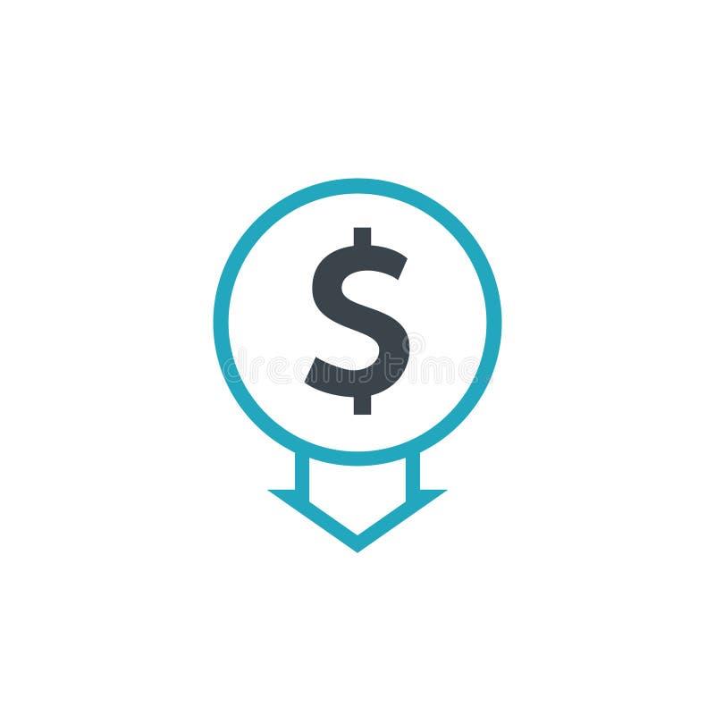Cost reduction icon dollar. Price decrease arrow symbol. business sale sign illustration vector illustration