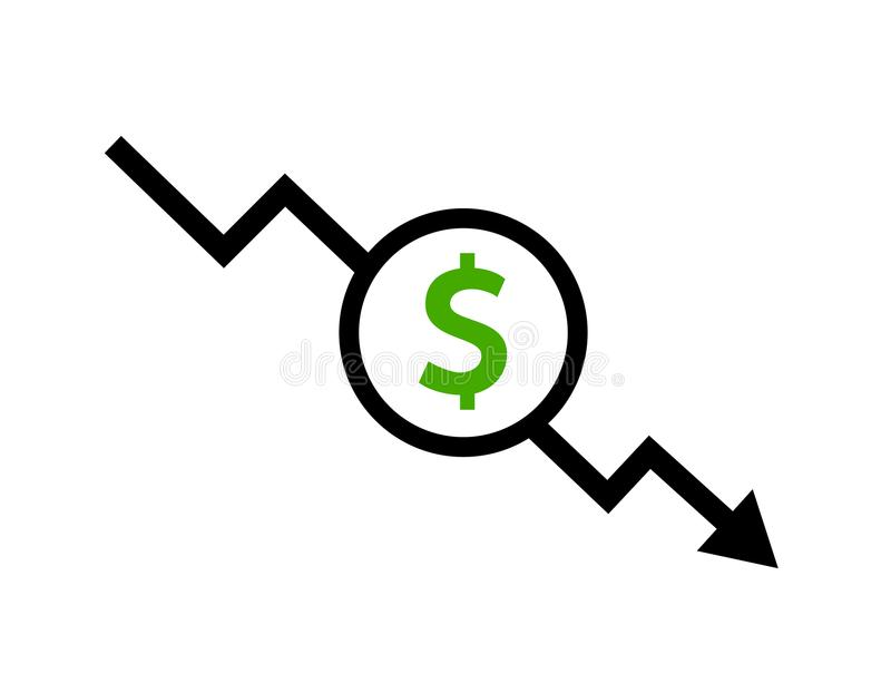 Cost reduction icon dollar. Price decrease arrow symbol. business sale sign illustration stock illustration