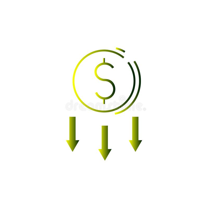Cost reduction vector icon, reducing. Dollar, cent, arrows, arrow, down money business finance sale discount drop price decrease profit benefit royalty free illustration