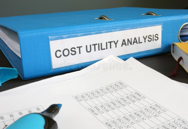 Cost utility analysis CUA documents. Cost utility analysis CUA documents in the folder royalty free stock photos