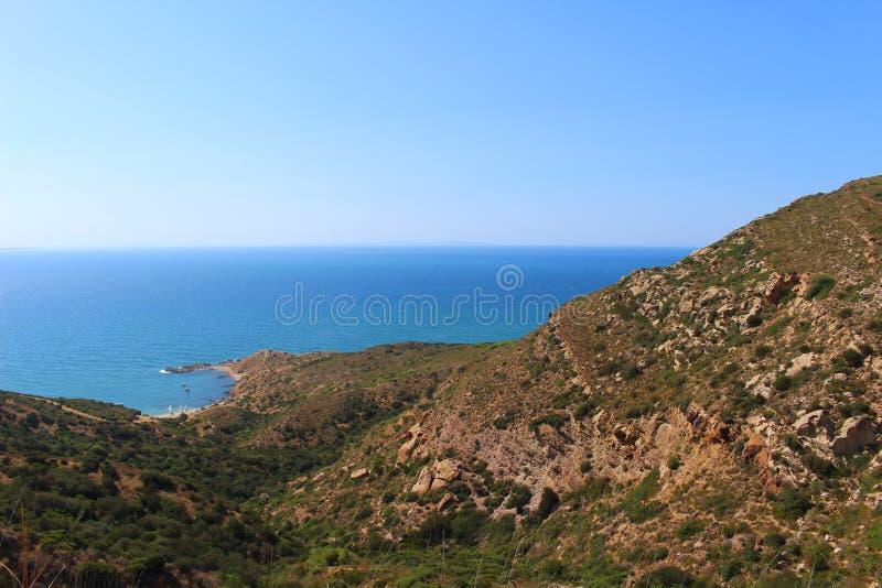 A costa áspera do Bon do tampão, Tunísia imagem de stock
