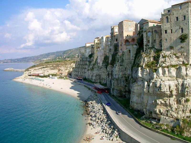 Costa íngreme em Calabria, Italy fotos de stock