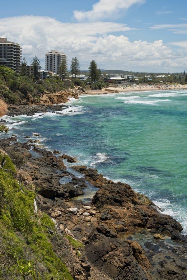 Costa Australia del sole di scena della spiaggia di Coolum fotografie stock libere da diritti