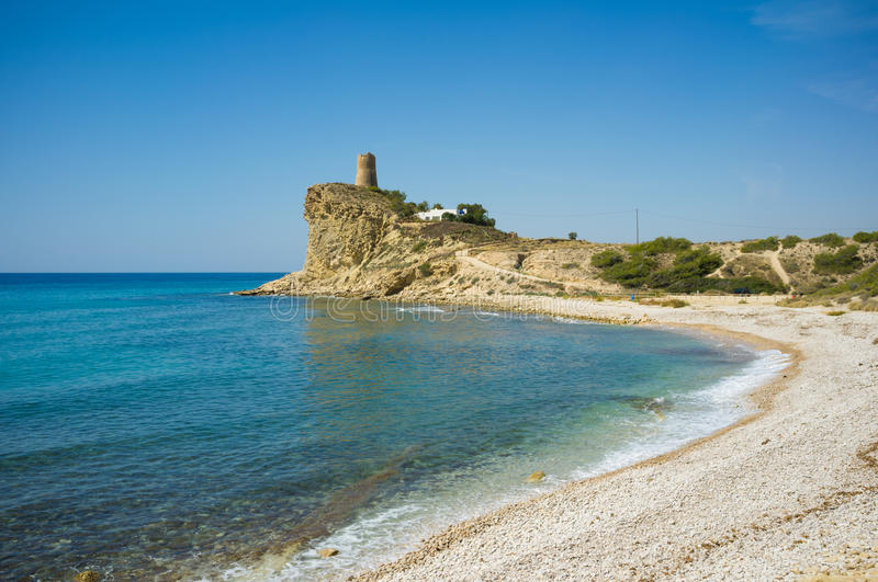 Costa Blanca beach. One of the many off the beaten track beaches on the Costa Blanca royalty free stock photos