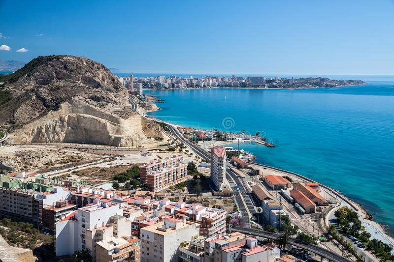 Costa Blanca. Coastline - famous place for summer vacation near Alicante, Spain royalty free stock photos
