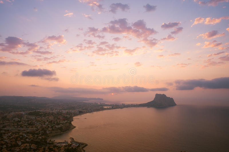 Costa Blanca landscape. A sunrise over Costa Blanca beach resort Calpe, Spain royalty free stock images