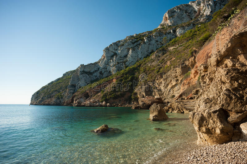 Costa Blanca waters. Calm and translucent waters on the Costa Blanca stock images