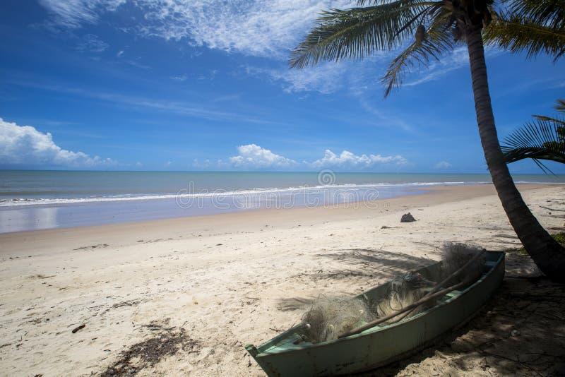 A costa brasileira da praia em um dia ensolarado em Barra faz Cahy, Baía, Brasil Em fevereiro de 2017 foto de stock